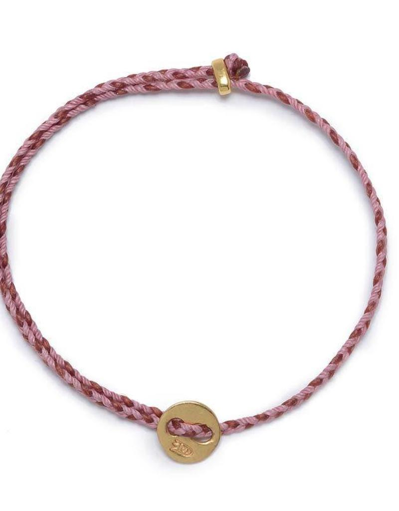 Scosha Signature Brass Slider Bracelet - Rose + Red