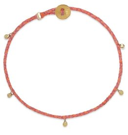 Scosha Fairy Bead Signature Brass Bracelet - Hot Pink + Neon Peach