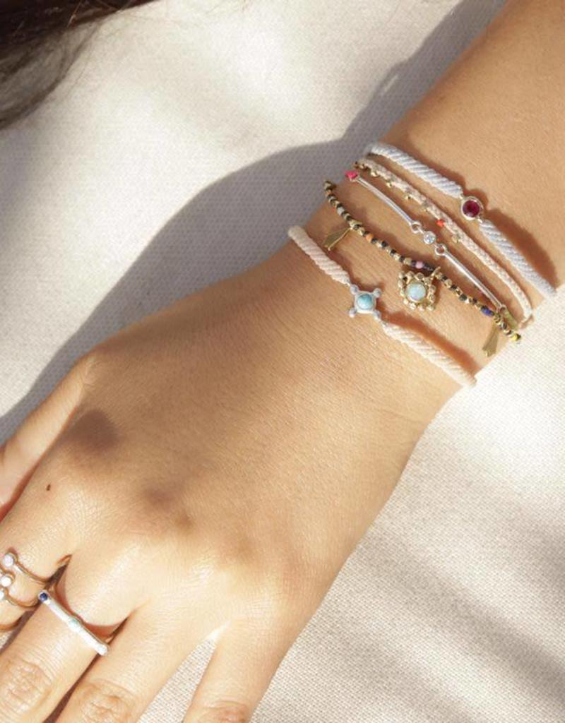 Scosha Candy Macrame Bracelet - Ruby + Lavender