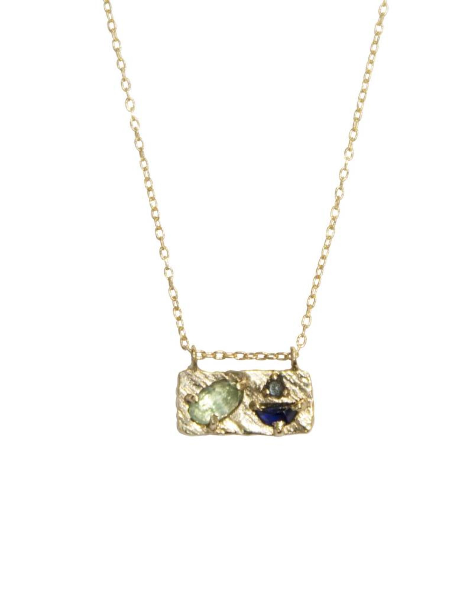 Lio & Linn Small Collage Necklace - Emerald + Blue Sapphire