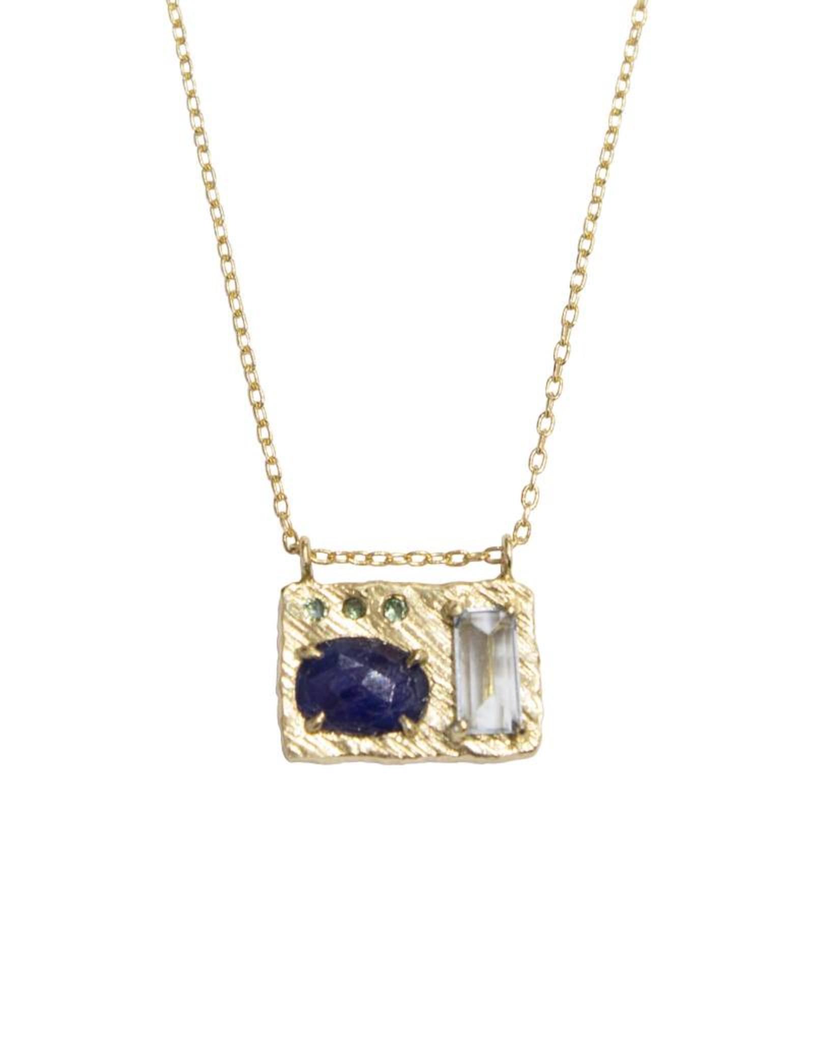 Lio & Linn Collage Necklace - Blue Sapphire + Blue Topaz