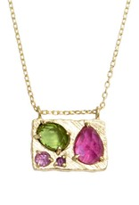 Lio & Linn Collage Necklace - Ruby + Tourmaline + Sapphire + Amethyst