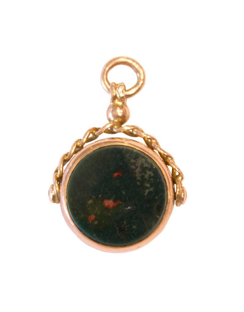 Antique Bloodstone + Carnelian + 9ct. Gold Wax Seal Fob (1888)