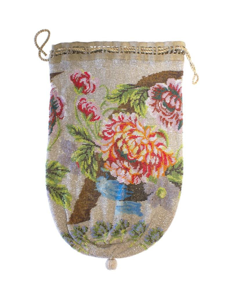 Antique Floral Beaded Pouch - Large (~1800)