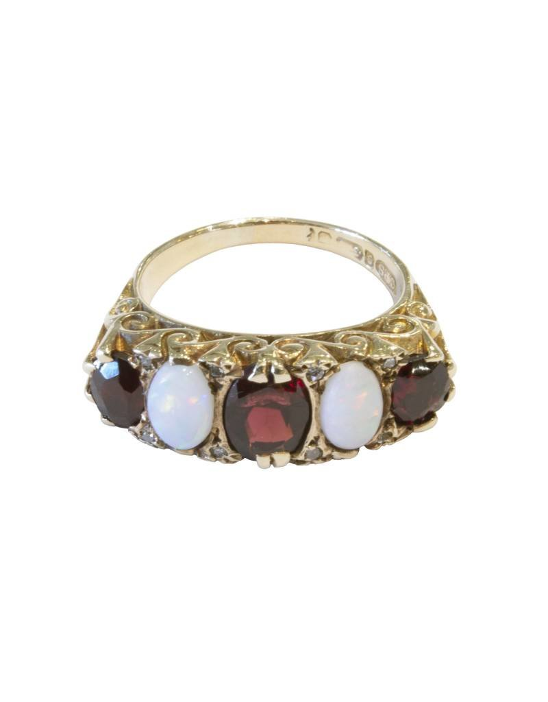 Antique Five Stone 9 Ct. Gold Ring - Opal + Garnet - Size 6 (~1900)