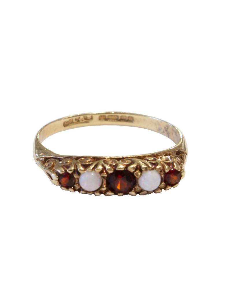 Antique Five Stone 9 Ct. Gold Ring - Opal + Garnet - Size 7 (~1900)