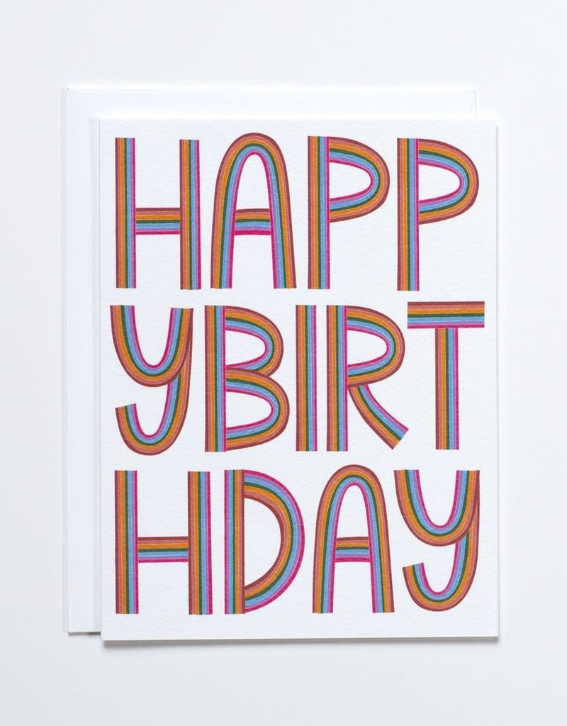 Banquet Atelier & Workshop 'Happy Birthday' Letters of the Rainbow Note Card