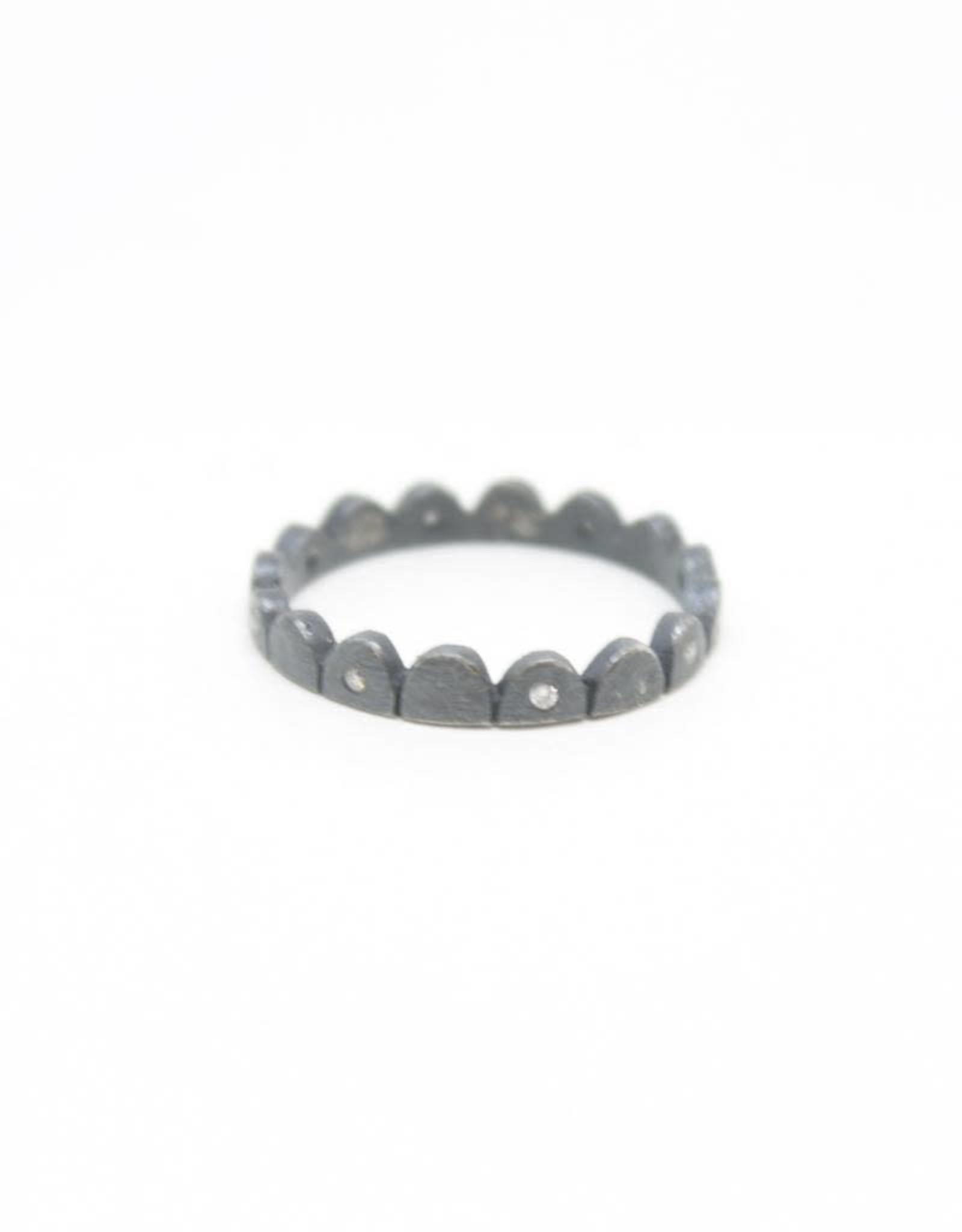 Himatsingka Picot Mini Alternate Diamond Patina Ring