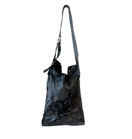 Engso Hand Crafted Small, Folded One-Piece Bag - Black + Black