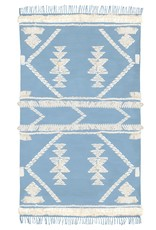 Langdon Ltd. Fringe Rug - Pale Blue + White