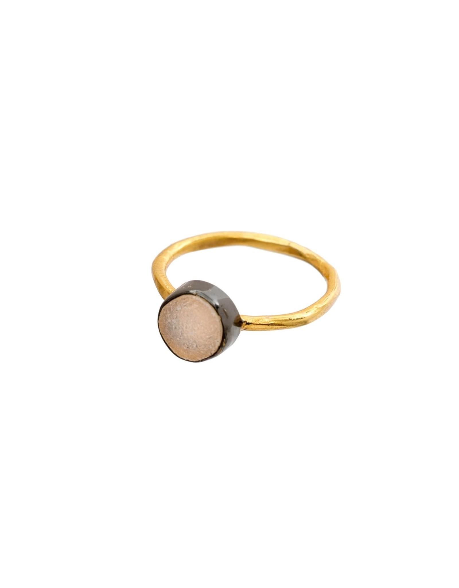 Indaba Stonegold Ring - White Druzy - 7