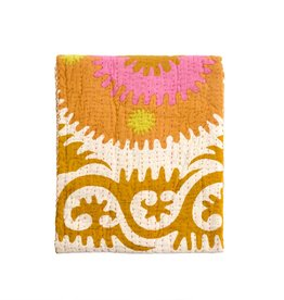 Suzani Print Quilted Throw - Marigold/Pink
