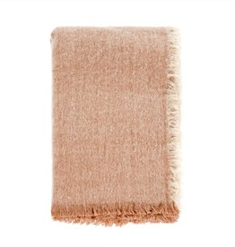 Brushed Wool Throw - Peach