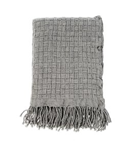Basket Weave Pure Wool Throw - Grey