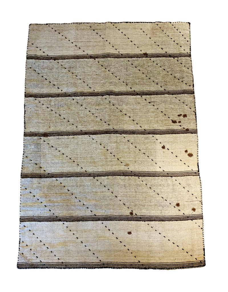 Etnik Halicilik Vintage Handwoven Anatolian Kilim Rug - Oatmeal + Dark Stitch