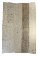 Etnik Halicilik Vintage Handwoven Anatolian Kilim Rug - Sand + Dark Stitch