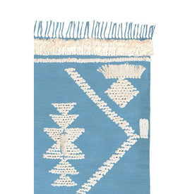 Langdon Ltd. Fringe Rug - Pale Blue + White