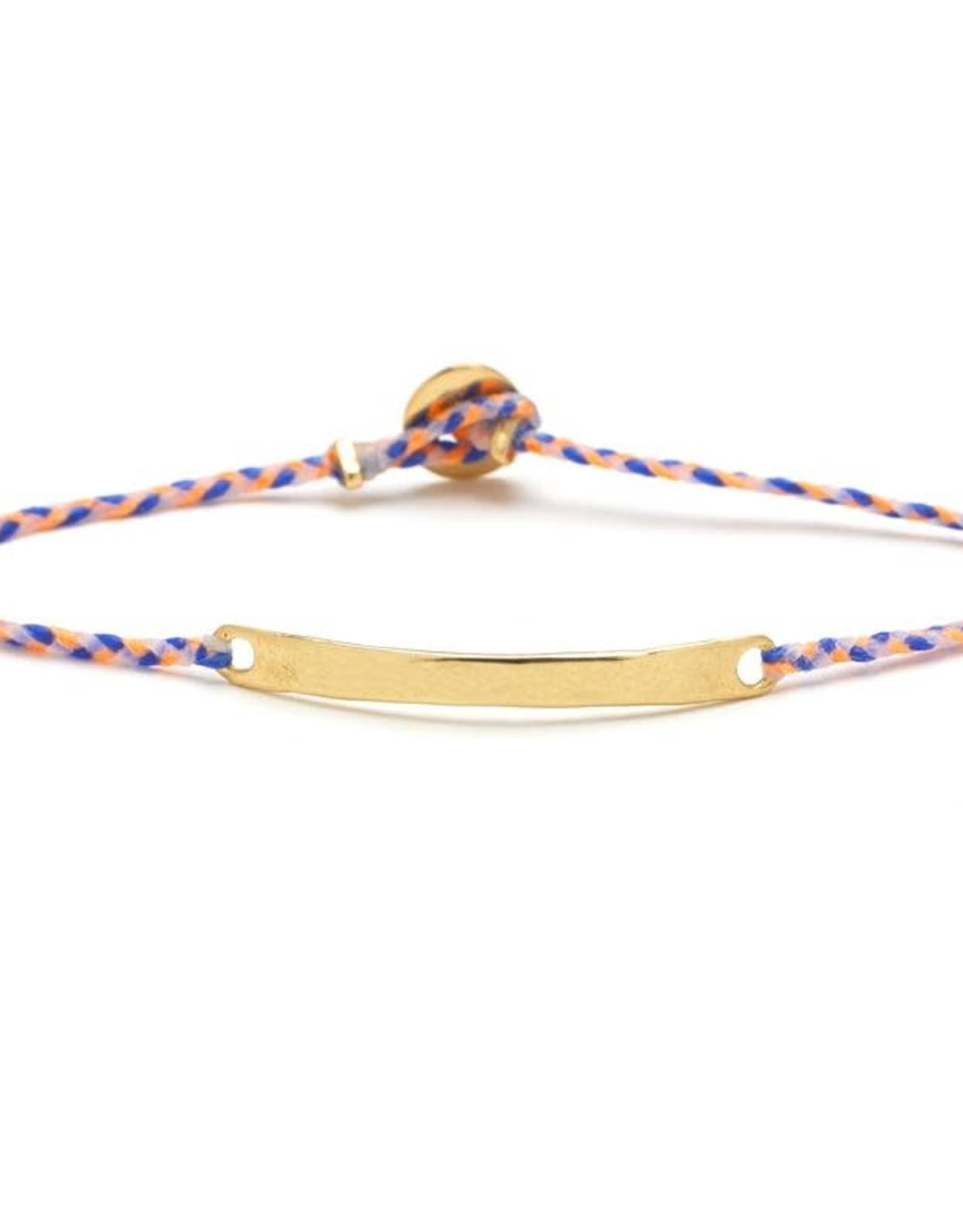 Scosha Signature ID Bracelet - Neon Peach + Royal Blue + White