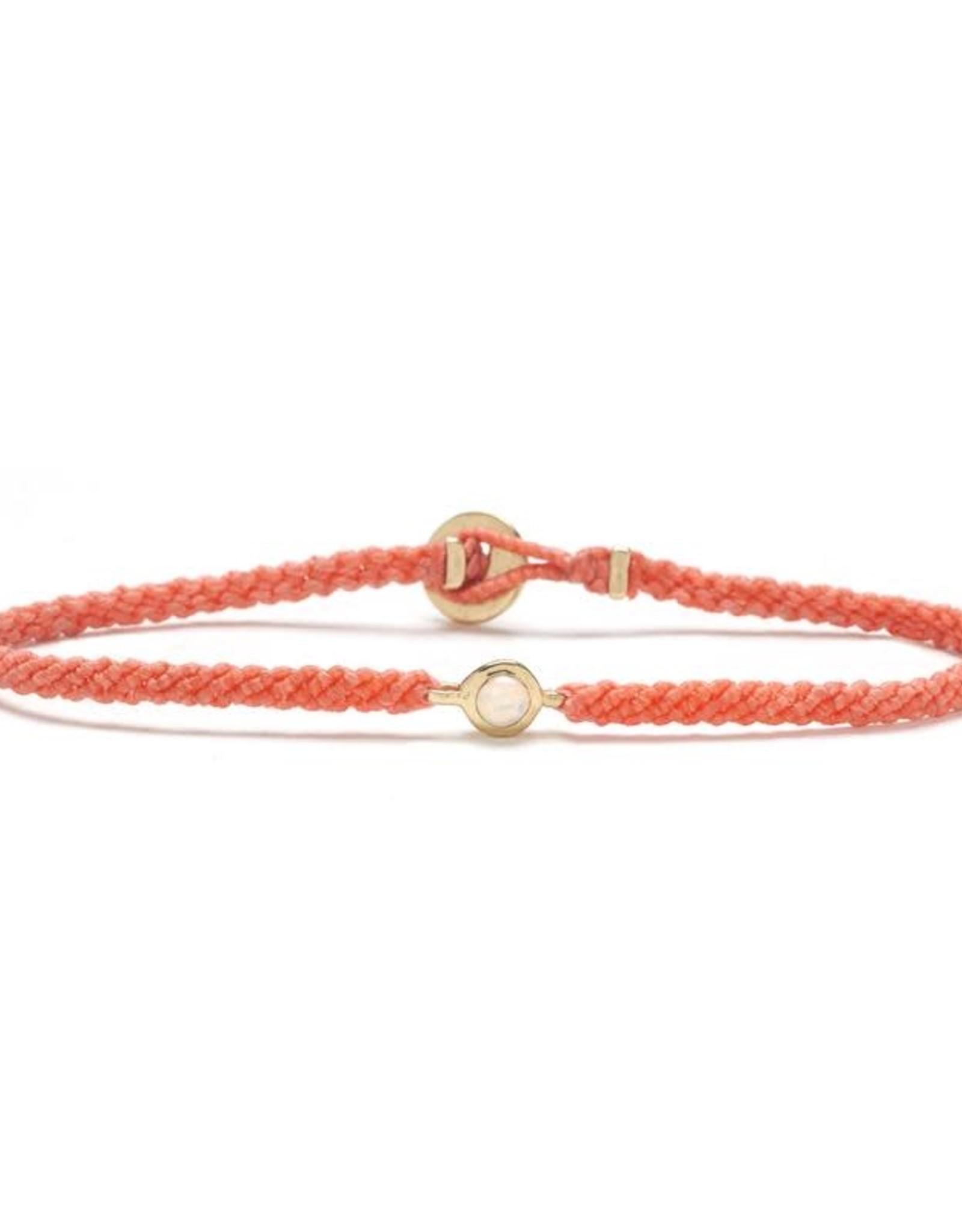 Scosha Candy Macrame Bracelet - Opal + Salmon