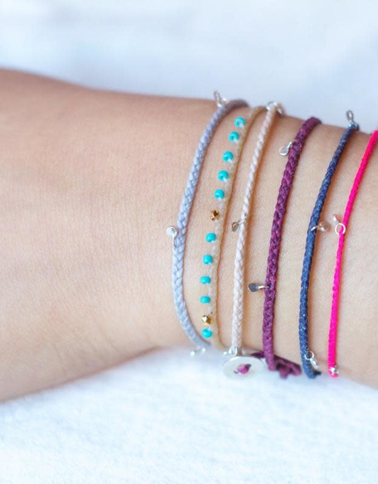 Scosha Fairy Bead Silver Bracelet - Fuschia