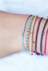 Scosha Fairy Bead Silver Bracelet - Rust