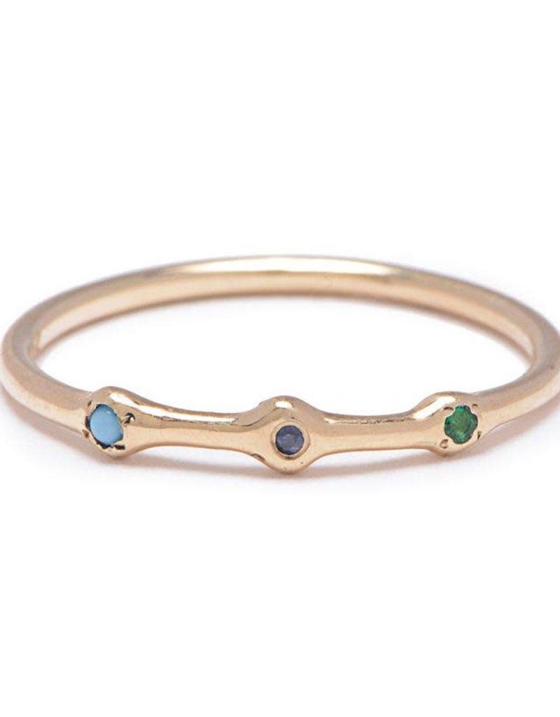 Scosha Trio Gold Ring - Emerald + Sapphire + Turquoise