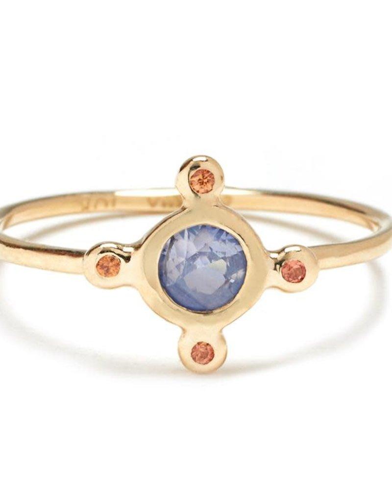 Scosha Candy Ring - Light Blue + Peach Sapphire