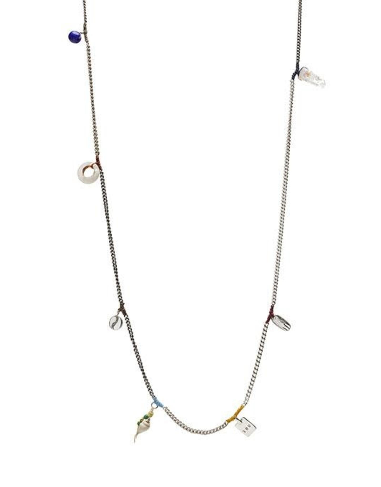 Scosha Patchwork Charms Silver Necklace