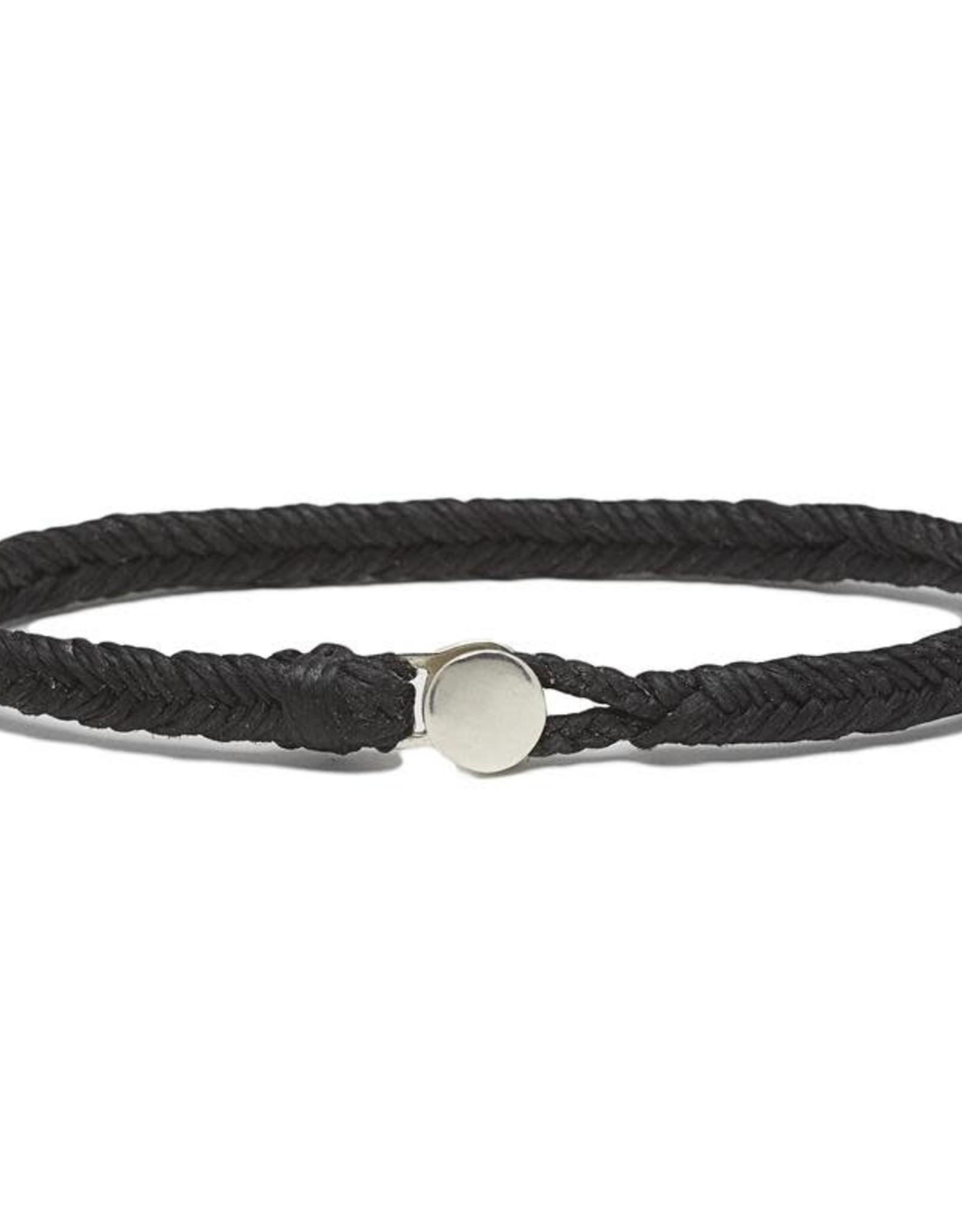 Scosha Classic Fishtail Silver Button  Bracelet - Black