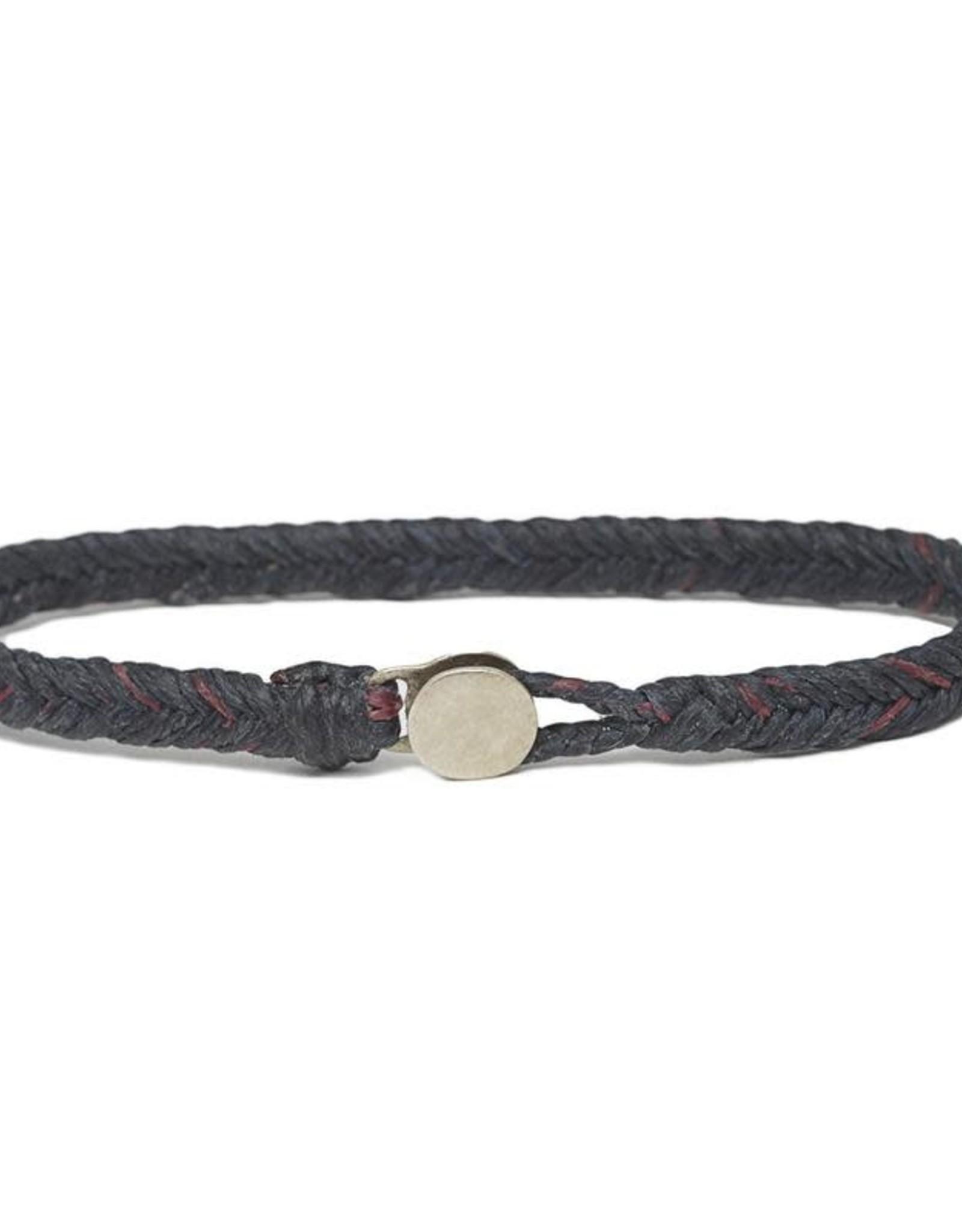 Scosha Classic Fishtail Silver Button  Bracelet - Indigo + Berry Fleck