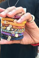 Scosha Fishtail Button Silver Bracelet - Indigo + Berry Fleck