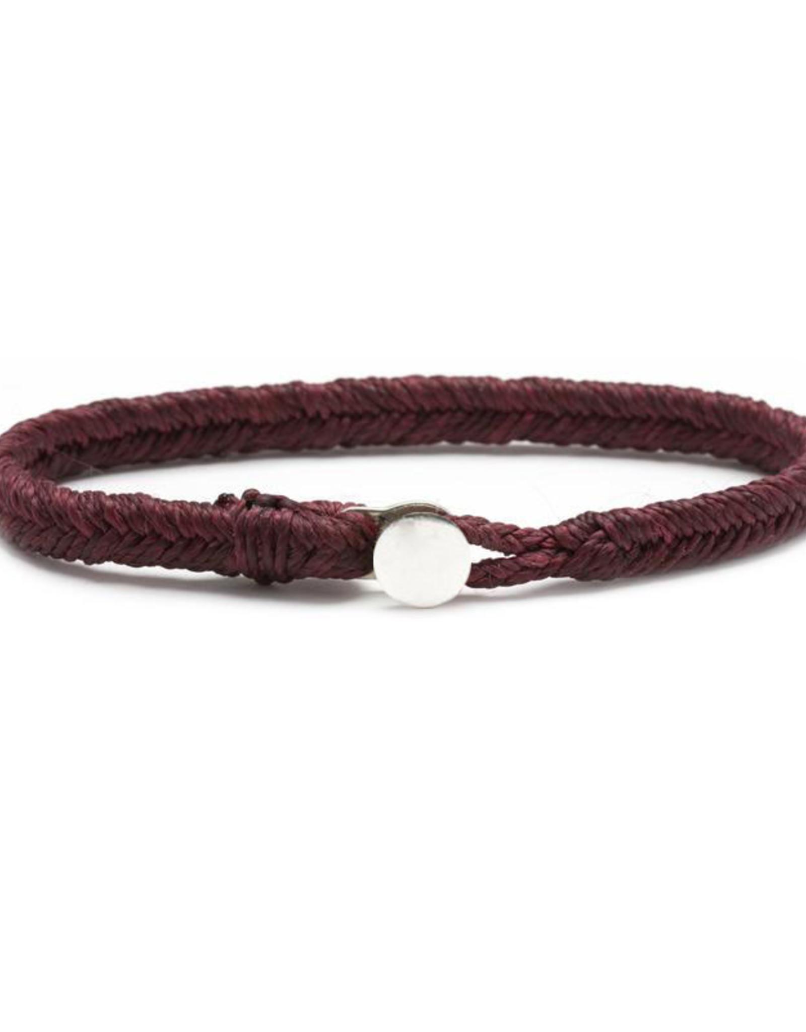 Scosha Classic Fishtail Silver Button  Bracelet - Plum