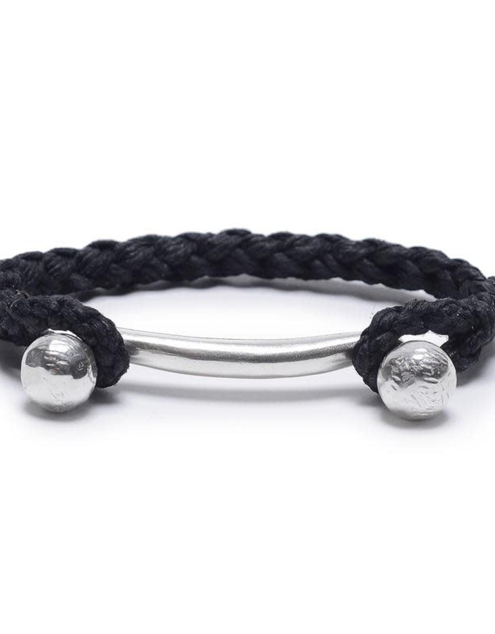 Scosha Rope Braid Silver Cuff - Black