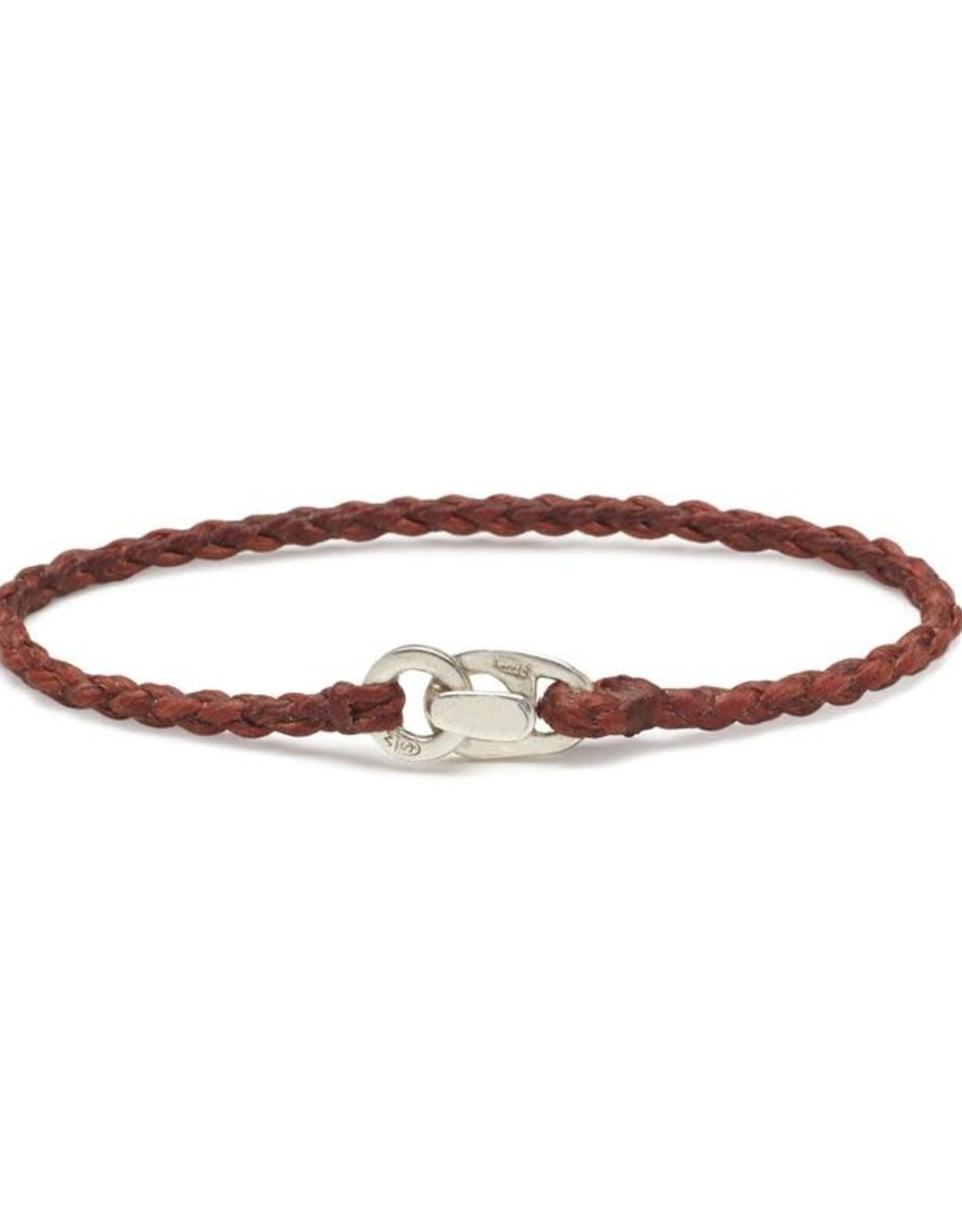 Scosha Single Wrap Silver Bracelet - Rust