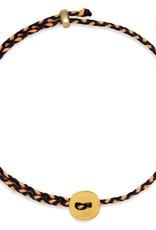 Scosha Signature Brass Slider Bracelet - Indigo + Neon Peach