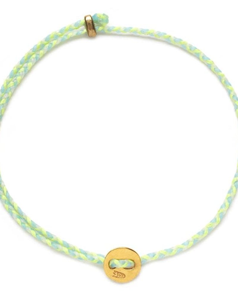 Scosha Signature Brass Slider Bracelet - Neon Yellow + Sky + White