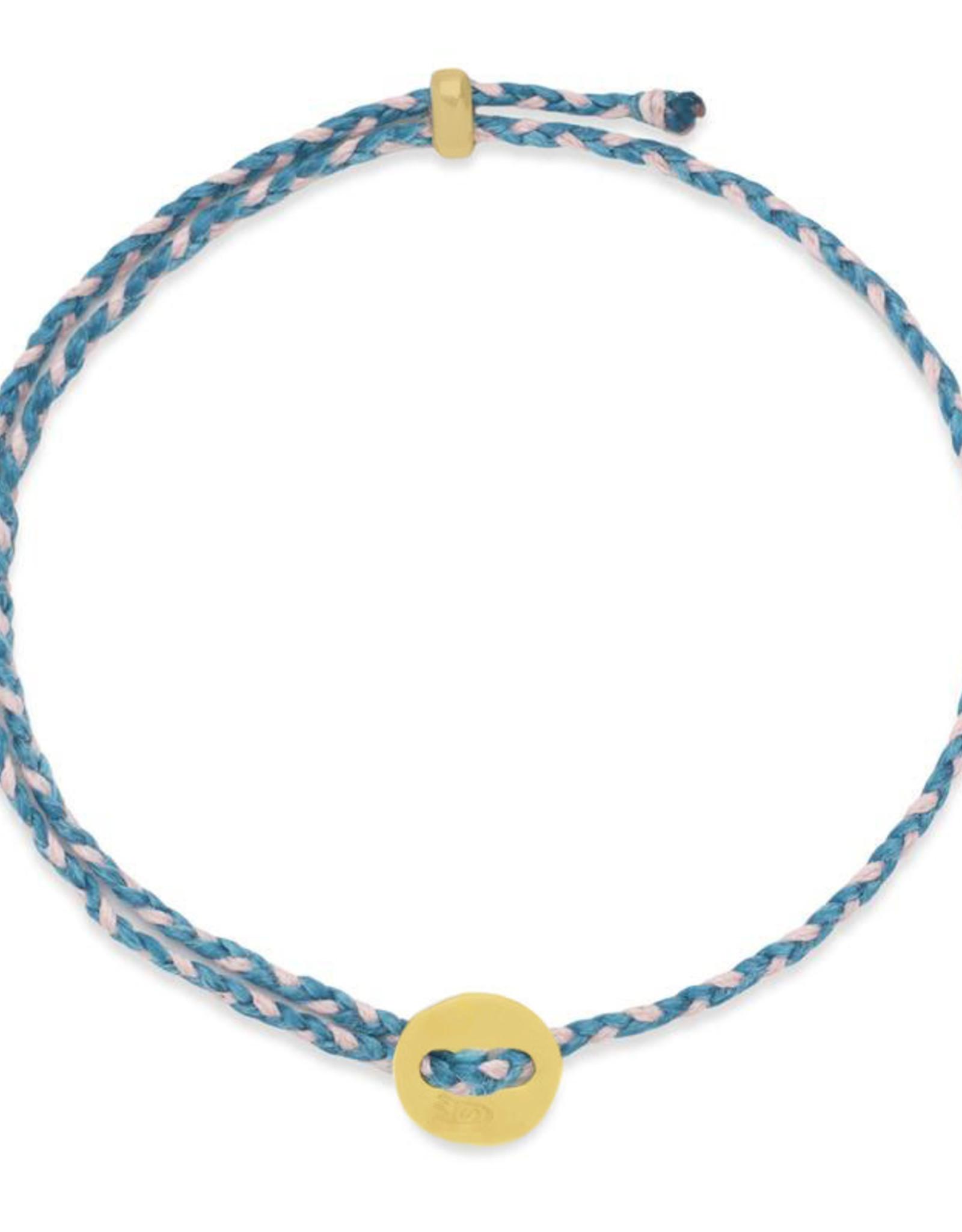 Scosha Signature Brass Slider Bracelet - Turquoise + Light Pink