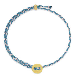 Scosha Signature Brass Slider Bracelet - Turquoise + Light Pink