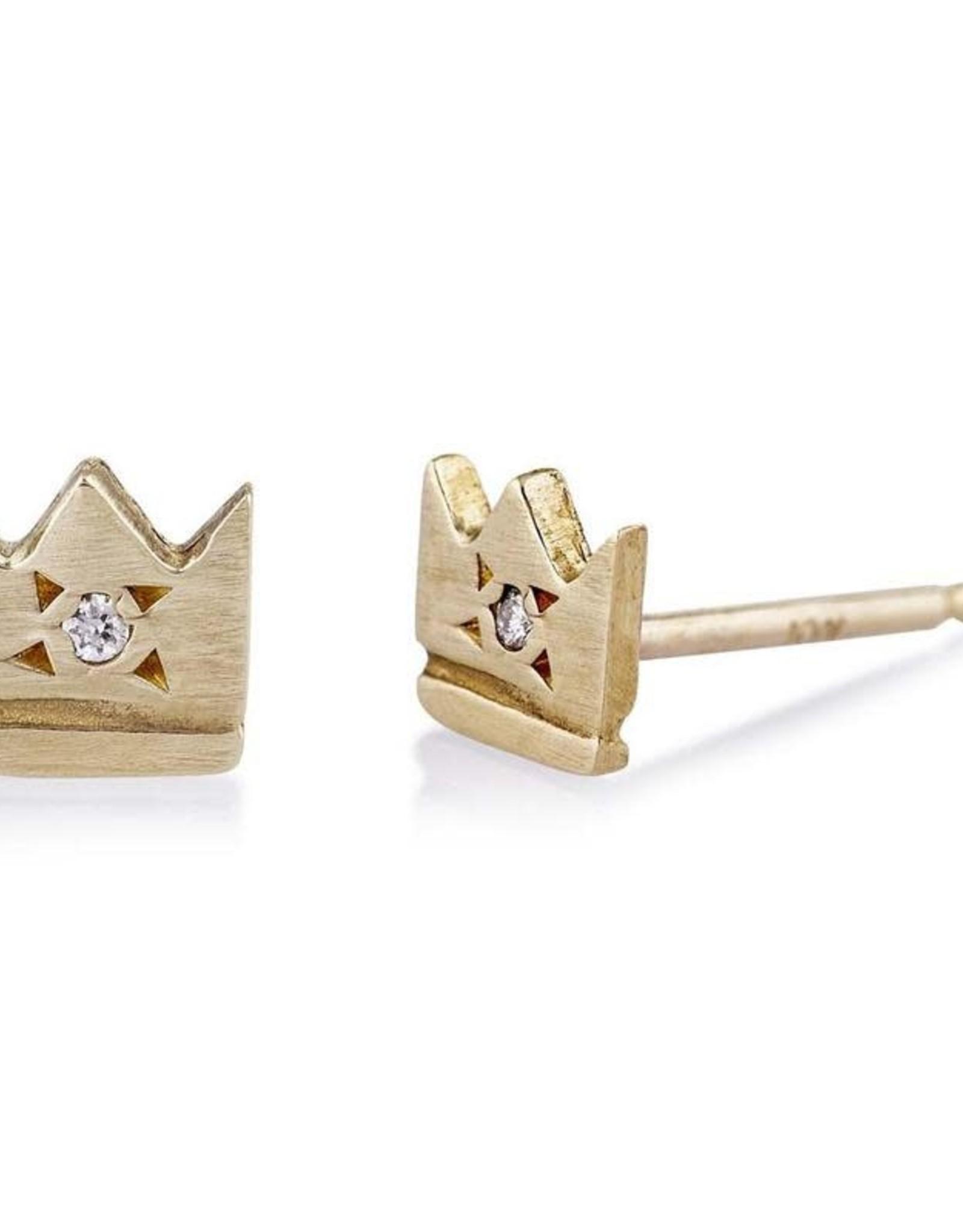 Scosha Crown Stud in Gold w/ Diamond