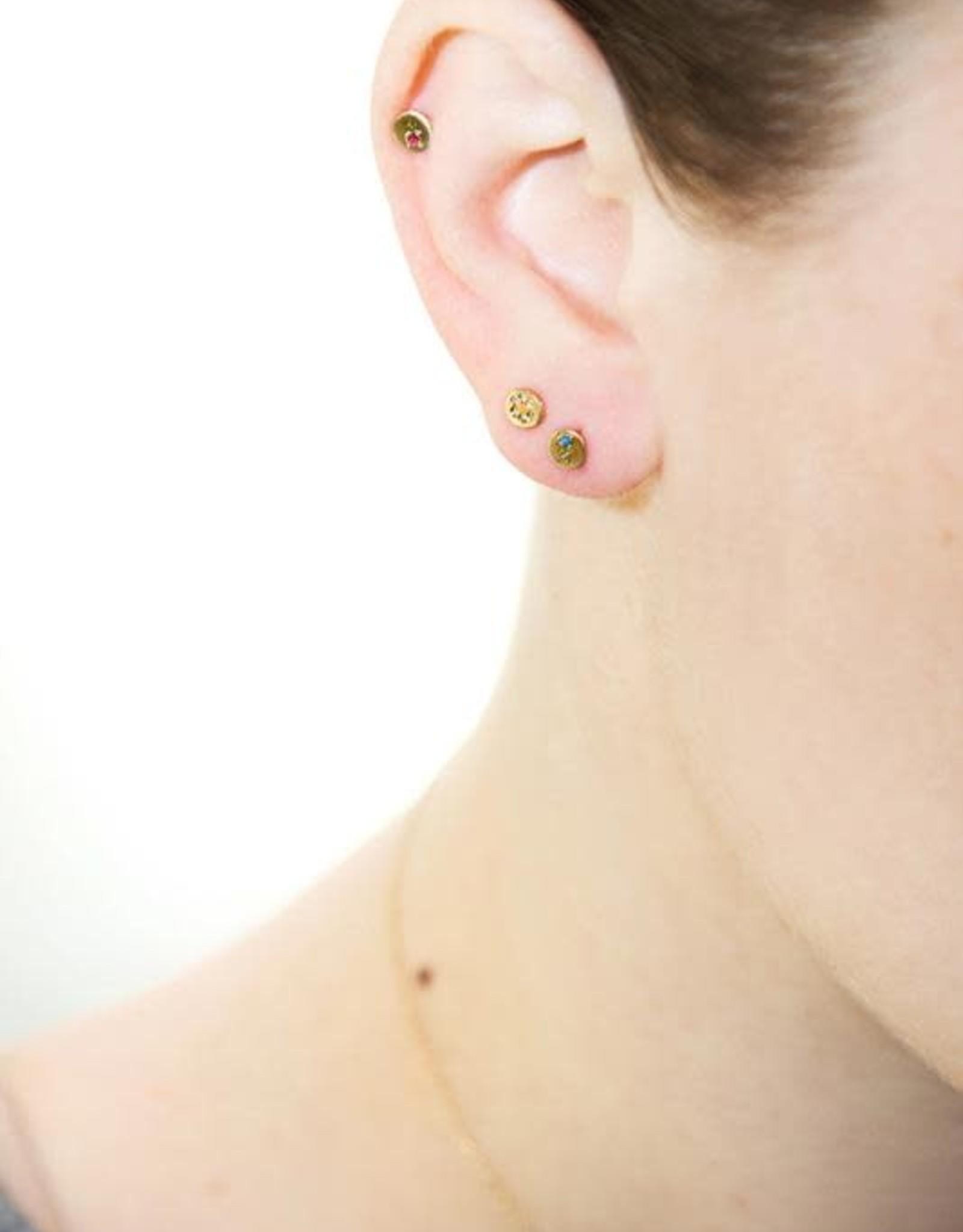 Scosha Juxtaposed Gold Stud - Diamond + Ruby