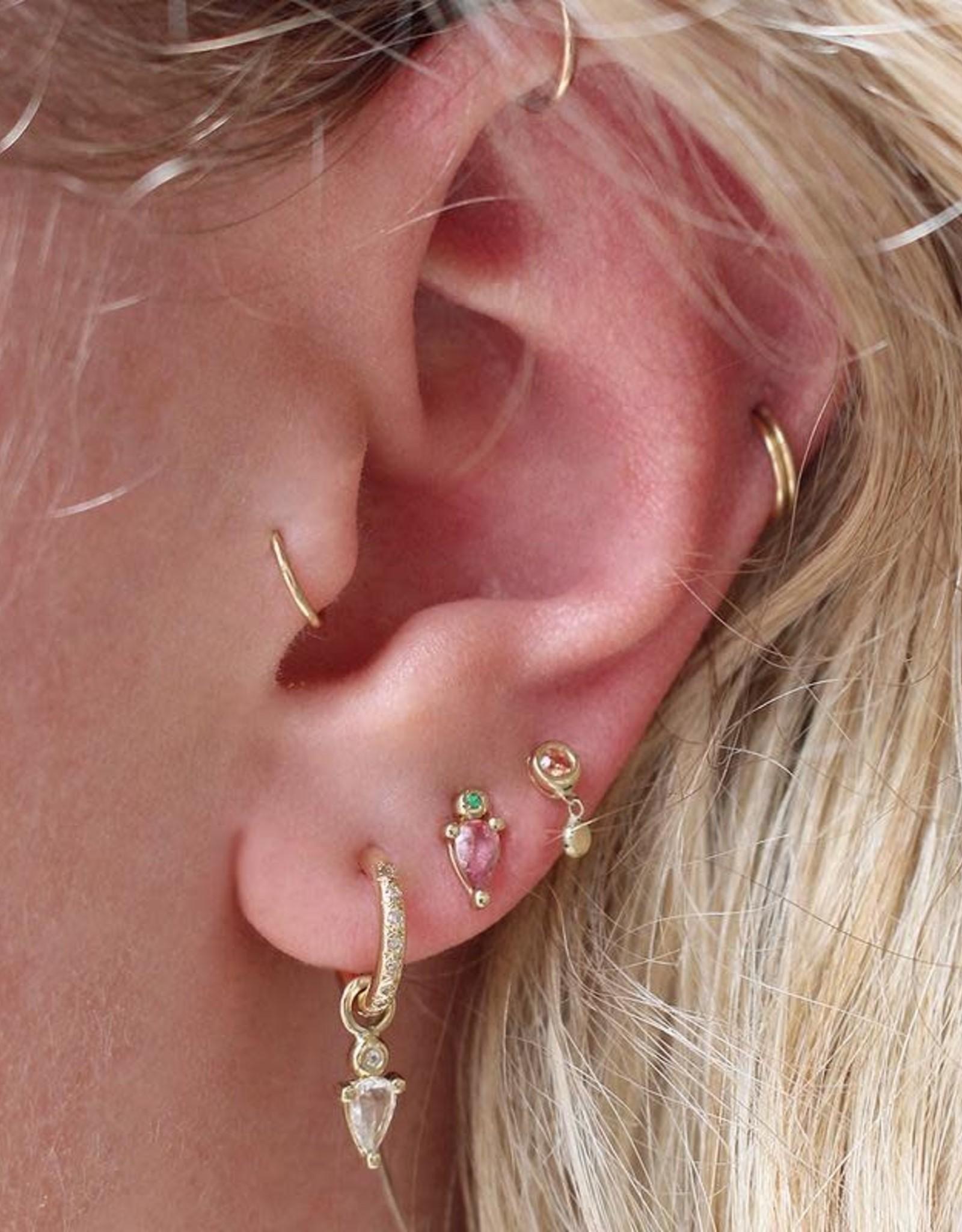 Scosha Tiny Bezel Gold Stud - Peach Sapphire