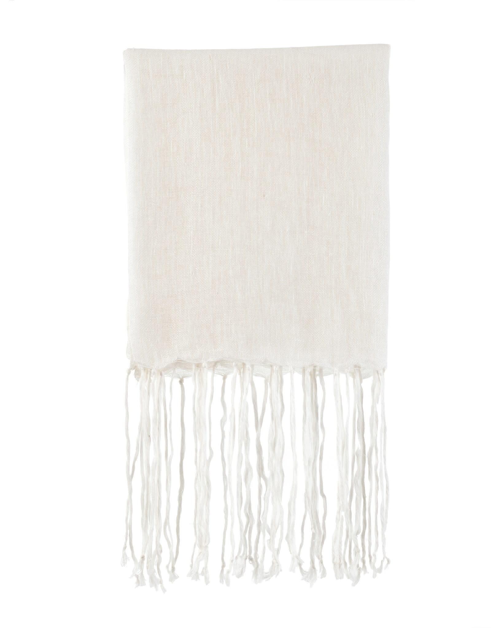 Indaba Fringed Linen Throw - White