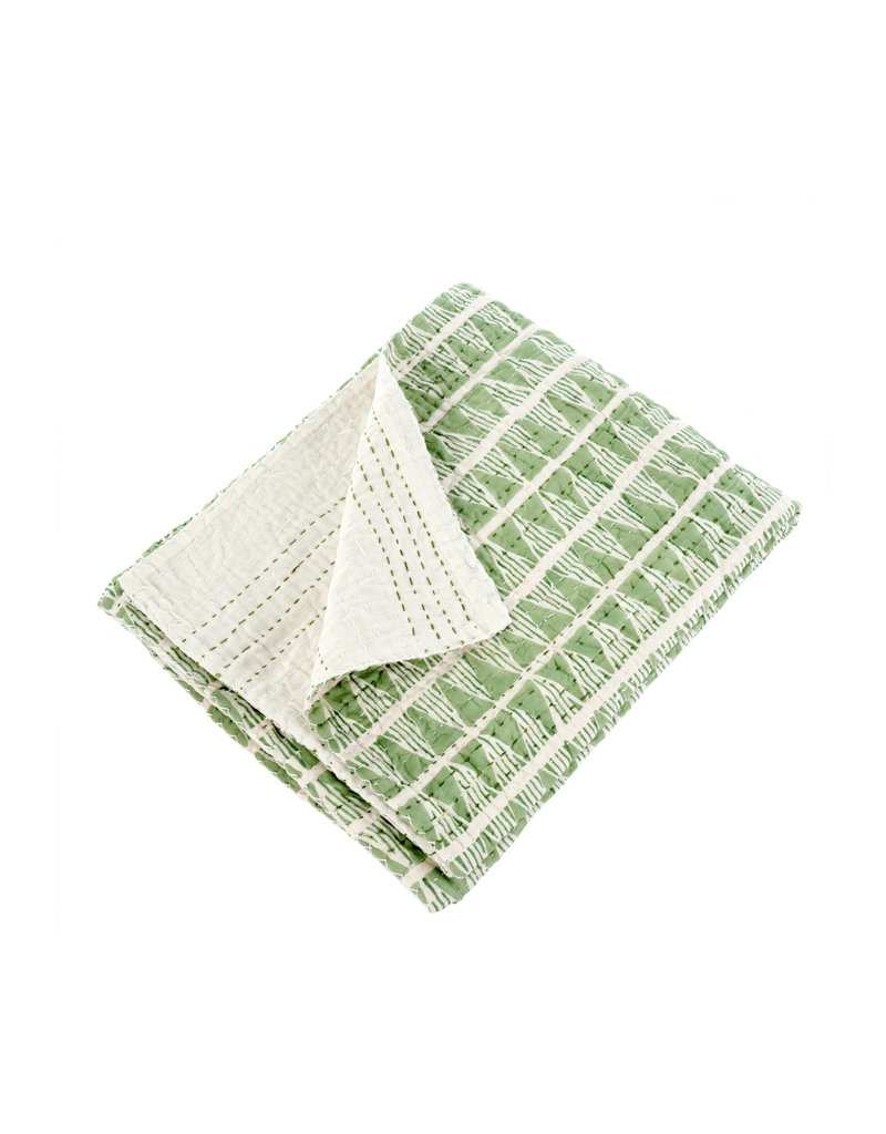 Montana Quilted Throw - Green