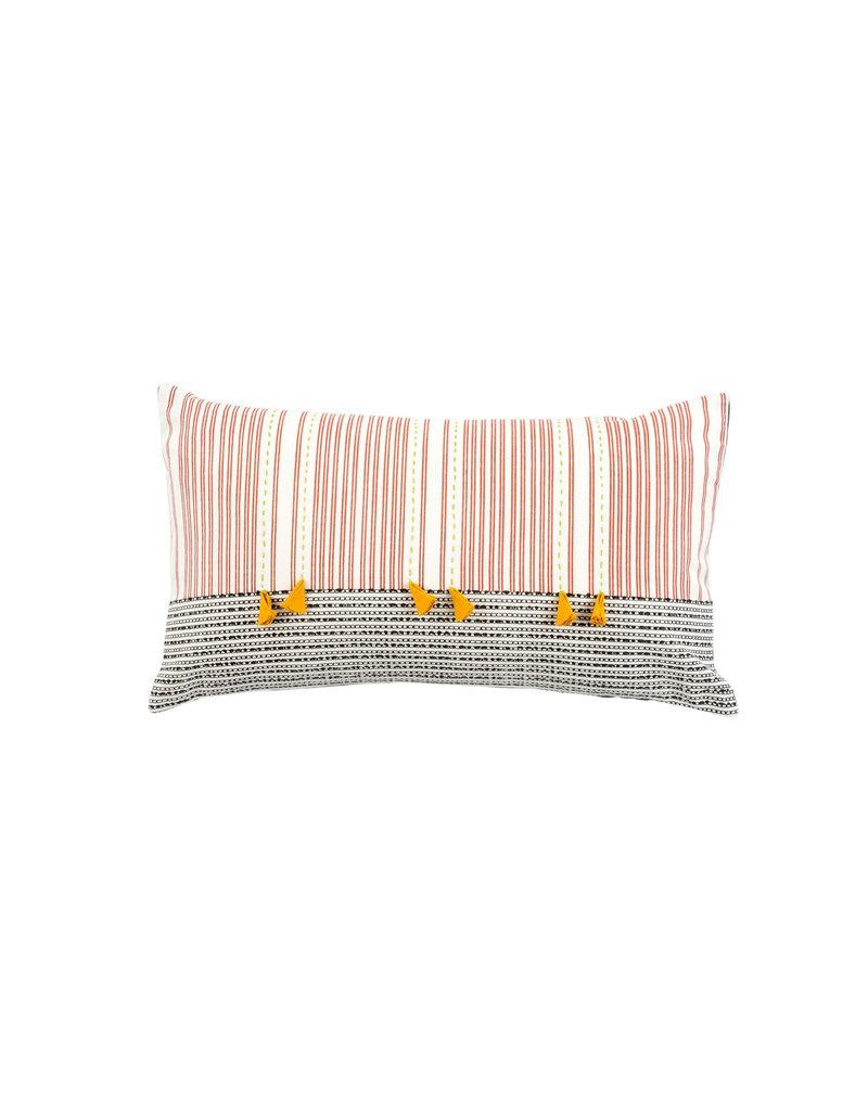 Kolkata Pillow - 6 Yellow Tassels