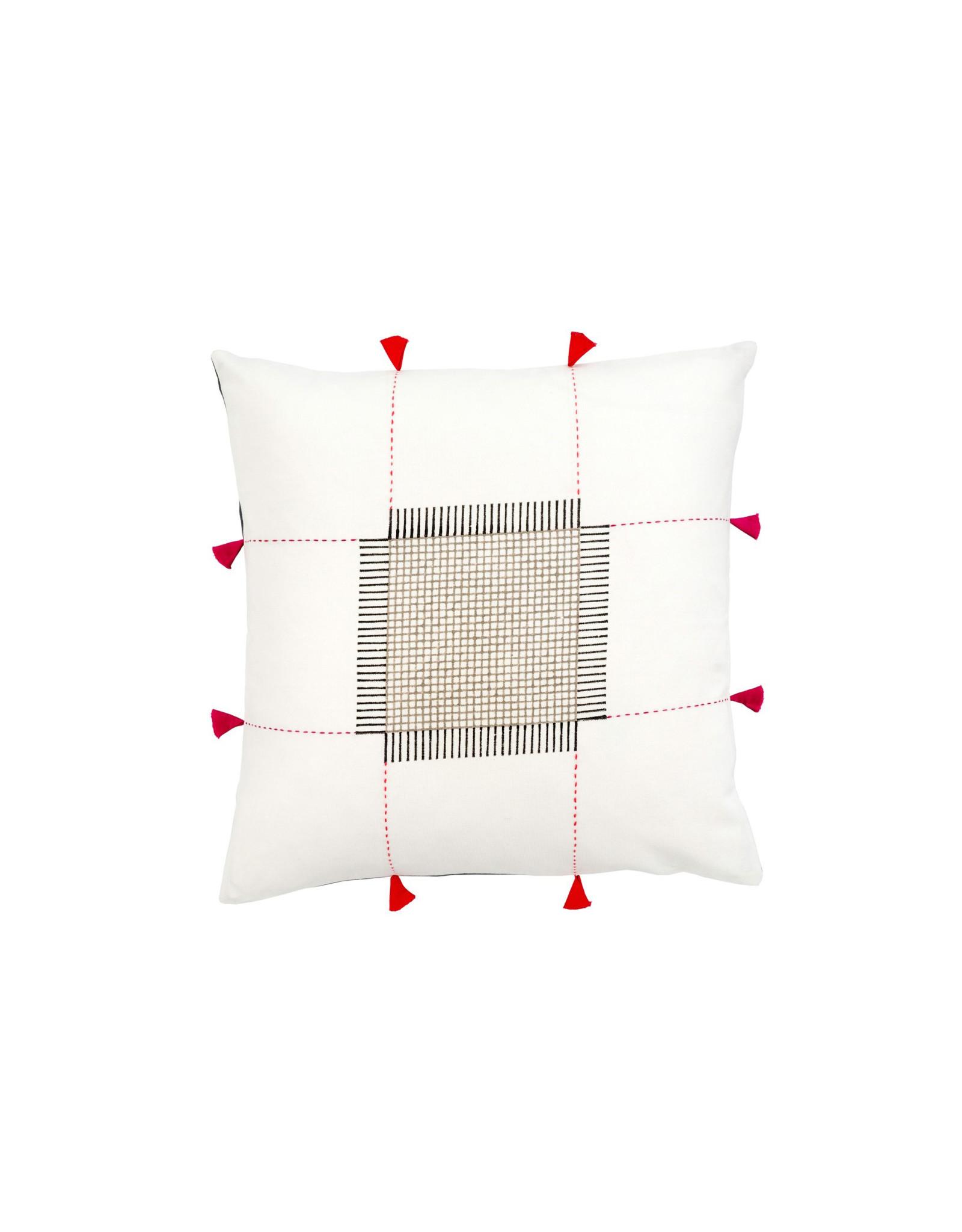 Kolkata Pillow - 8 Red Tassels