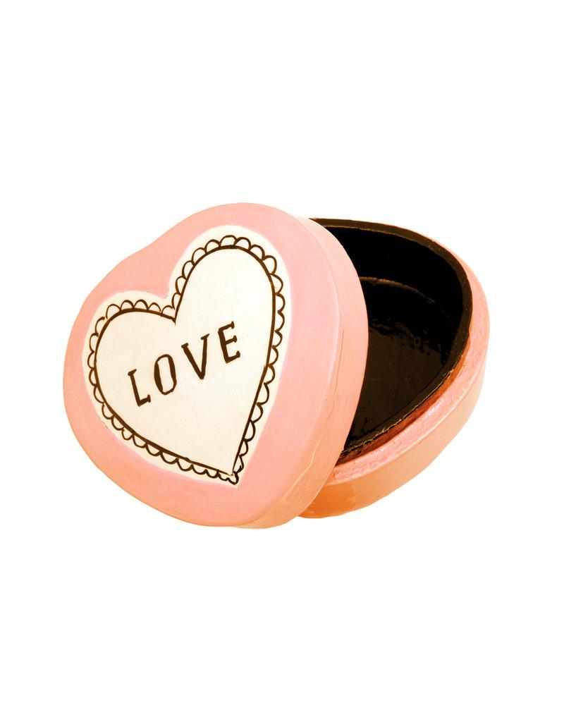 """""""Love"""" Ivory + Peach Kashmiri Box - Large"""