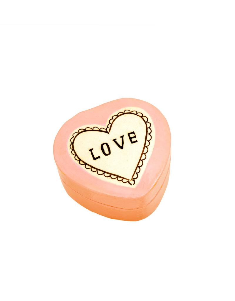 """Love"" Ivory + Peach Kashmiri Box - Small"