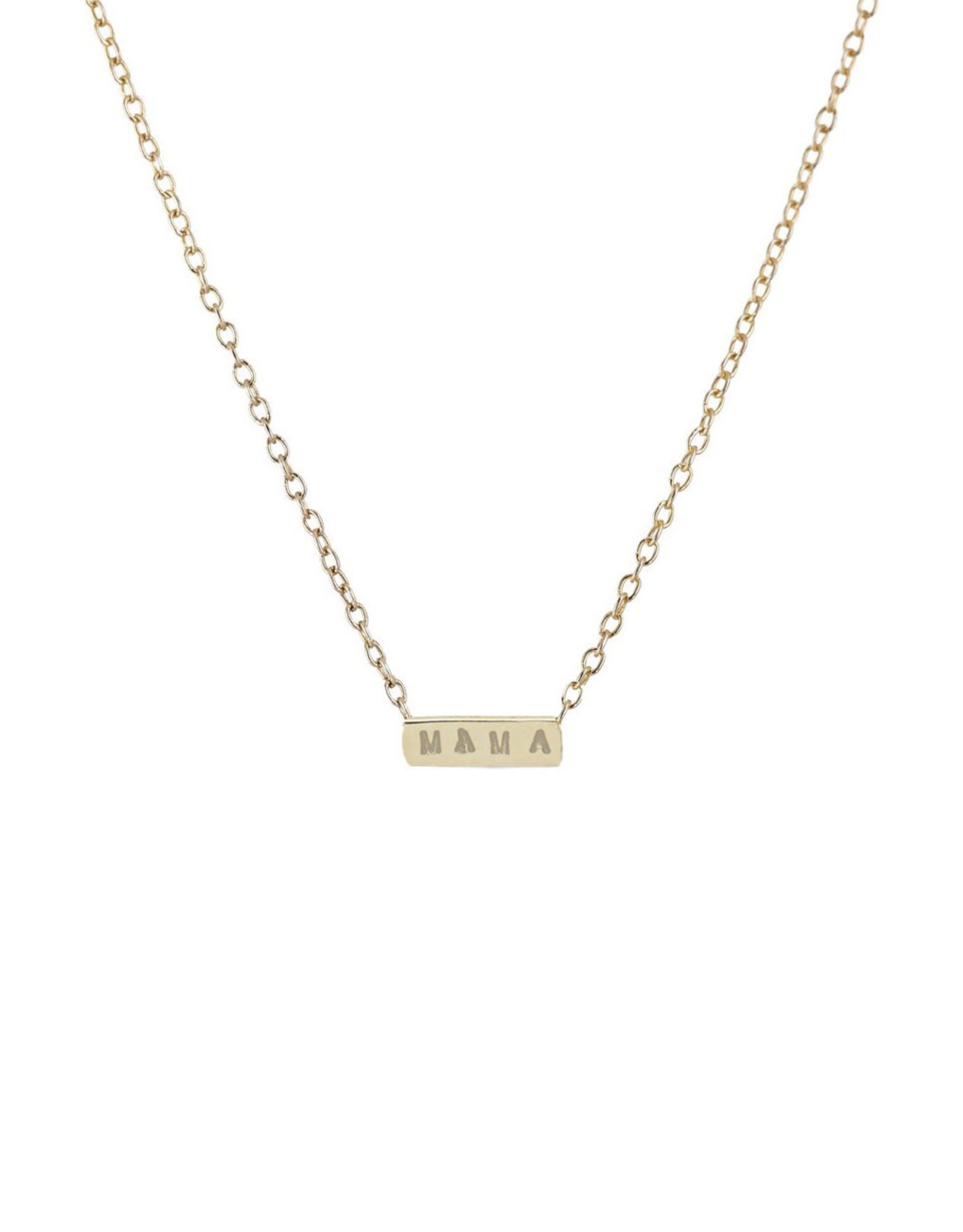 "Scosha 'MAMA' Bar Necklace in Gold, Hand-Stamped ""MAMA"""