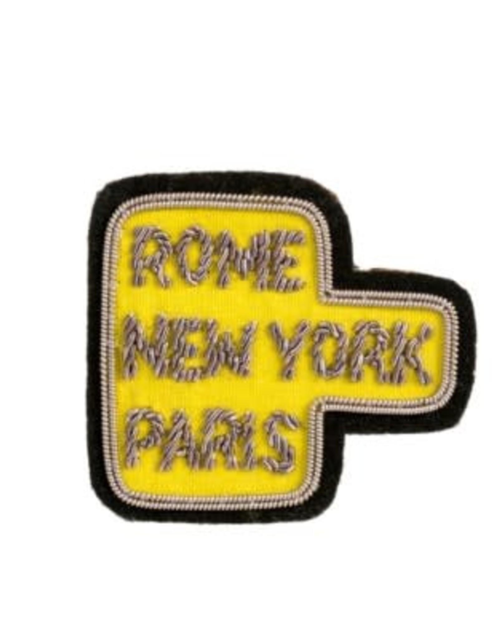 """Indaba """"Rome NY Paris"""" Patch Pin"""