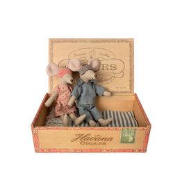 Maileg Sleepy Mum & Dad Mice in Cigar Box